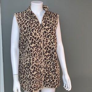Laura Scott Womans Leopard Print Vest SZ.L